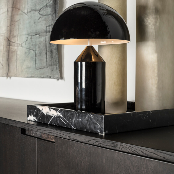 Hoogglans design tafellamp zwart ronde kap
